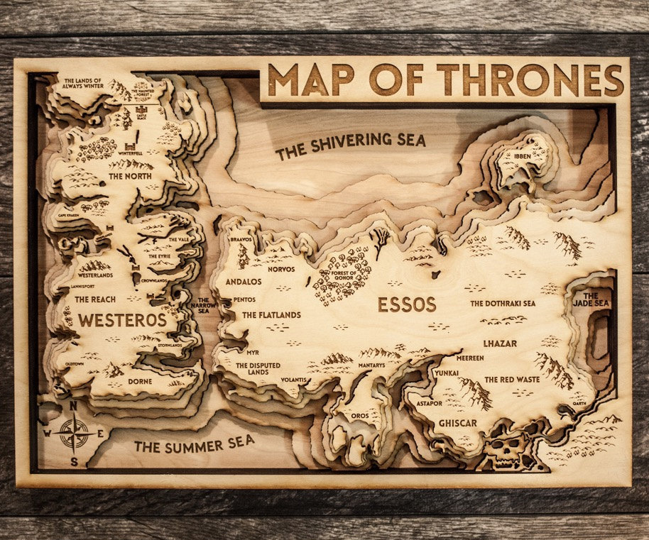 Game Of Thrones 3d Wood Map 2