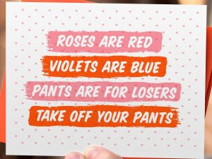 Take Off Your Pants Valentine's Card